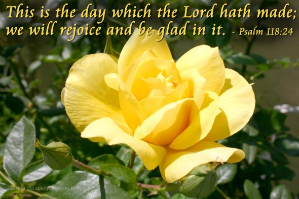This is the day which the Lord hath made; we will rejoice and be glad in it. - Psalm 118:24