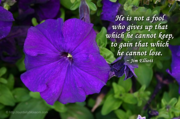 He is not a fool who gives up that which he cannot keep, to gain that which he cannot lose. ~ Jim Elliott
