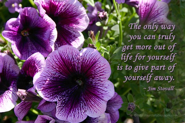 The only way you can truly get more out of life for yourself is to give part of yourself away. ~ Jim Stovall