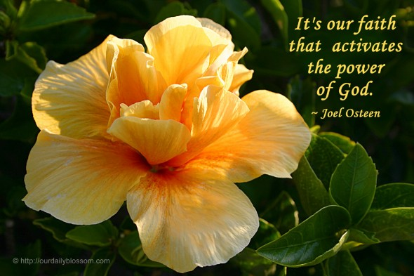 It's our faith that activates the power of God. ~ Joel Osteen