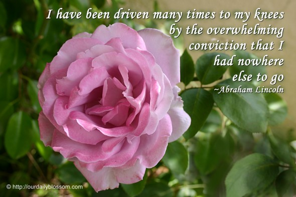I have been driven many times to my knees by the overwhelming conviction that I had nowhere else to go. ~ Abraham Lincoln