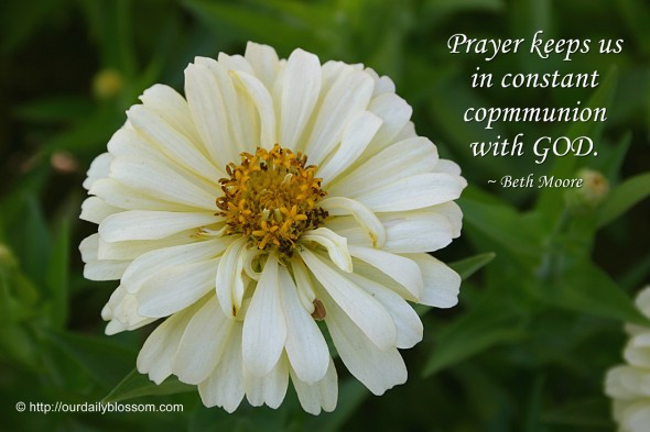 Prayer keeps us in constant communion with GOD. ~ Beth Moore
