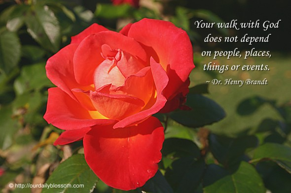 Your walk with God does not depend on people, places, things or events. ~ Dr. Henry Brandt