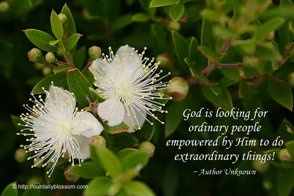 God is looking for ordinary people empowered by Him to do extraordinary things! ~ Author Unknown