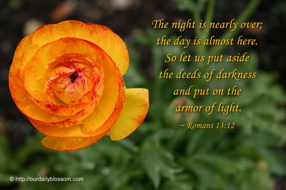 The night is nearly over; the day is almost here. So let us put aside the deeds of darkness and put on the armor of light. ~ Romans 13:12