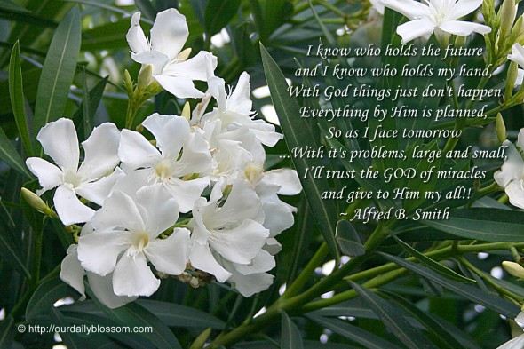 I know who holds the future, and I know who holds my hand, With God things don't just happen, Everything by Him is planned; So as I face tomorrow ...With its problems large and small, I'll trust the God of miracles and give to Him my all!! ~ Alfred B. Smith