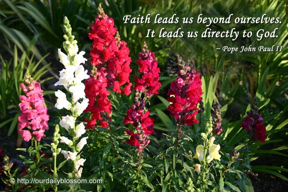 Faith leads us beyond ourselves. It leads us directly to God. ~ Pope John Paul II