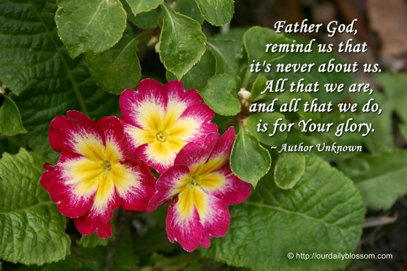 Father God, remind us that it's never about us. All that we are, and all that we do, is for Your glory. ~ Author Unknown
