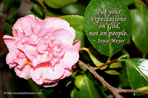 Put your expectations on God, not on people. ~ Joyce Meyer