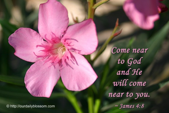 Come near to God and he will come near to you. ~ James 4:8