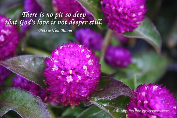 There is no pit so deep that God's love is not deeper still. ~ Betsie Ten Boom