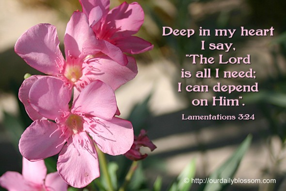 "Deep in my heart I say, ""The LORD is all I need; I can depend on him!"". ~ Lamentations 3:24"