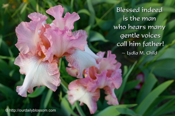 Blessed indeed is the man who hears many gentle voices call him father! ~ Lydia M. Child