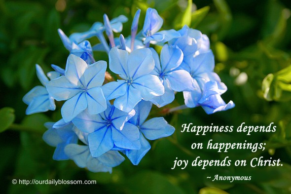 Happiness depends on happenings; joy depends on Christ. ~ Anonymous