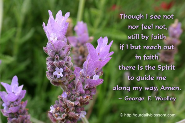 Though I see not nor feel not, still by faith if I but reach out in faith there is the Spirit to guide me along my way, Amen. ~ George  F  Woolley