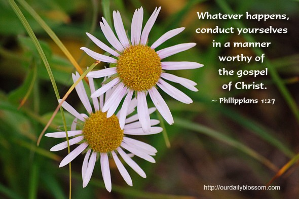Whatever happens, conduct yourselves in a manner worthy of the gospel of Christ. ~ Philippians 1:27