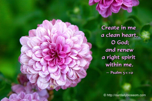 Create in me  a clean heart,  O God;  and renew  a right spirit  within me. ~ Psalm 51:10