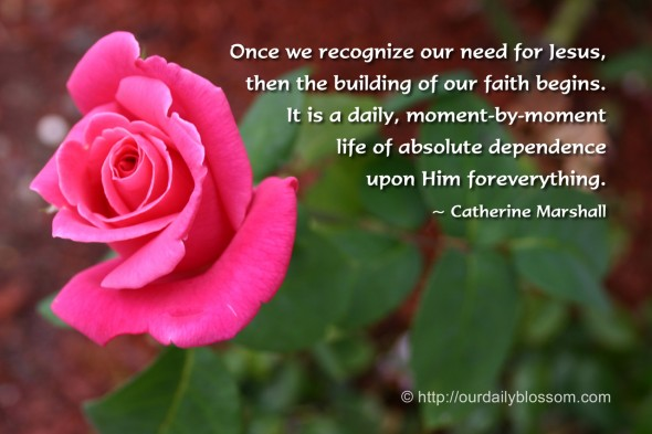 Once we recognize our need for Jesus, then the building of our faith begins. It is a daily, moment-by-moment life of absolute dependence upon Him for everything. ~ Catherine Marshall